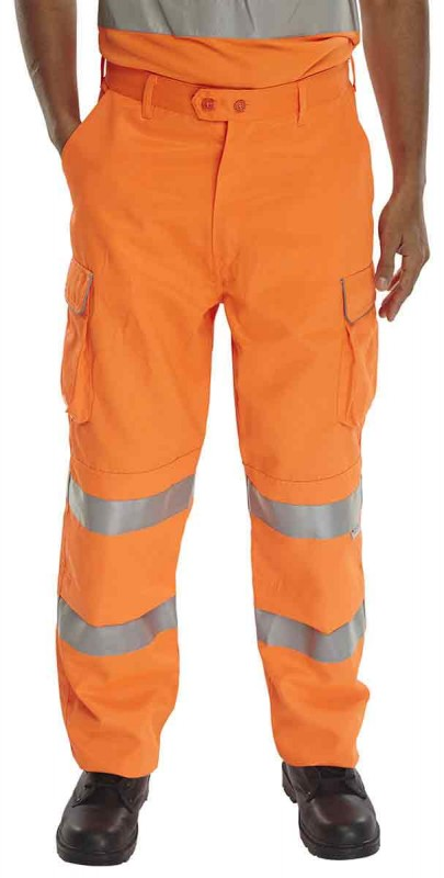 B-Seen RST Rail Spec Work Trousers Hi-Viz Orange