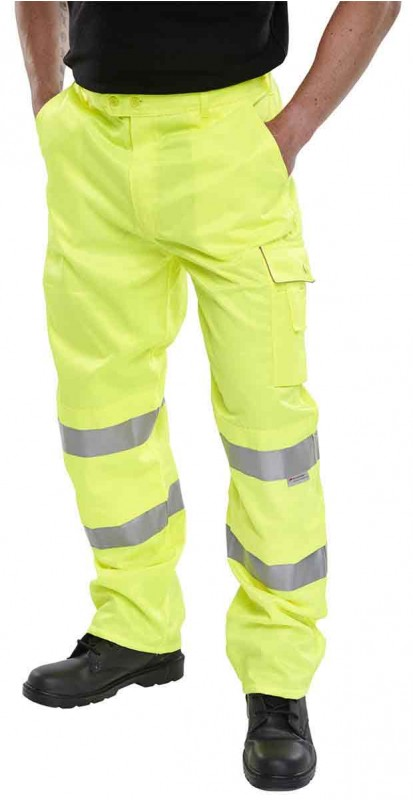 B-Seen PCTEN Hi-Viz Work Trousers Saturn Yellow
