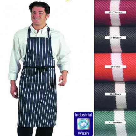 Colour Fast Striped Bib Apron (No pocket)