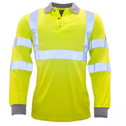 Portwest FR77 Flame-Resistant Anti-Static Hi-Vis Long sleeve Polo shirt