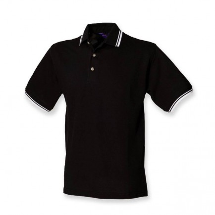Henbury H150 Contrast Tipped Pique Polo