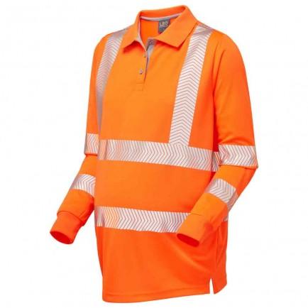 Leo Workwear Yarnacott Iso 20471 Cl 2 Coolviz Ultra Maternity Long Sleeve Polo Shirt