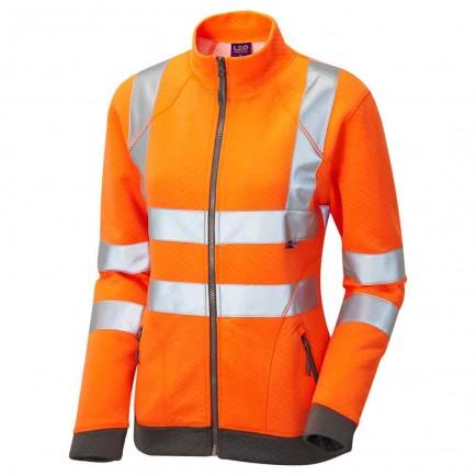 Leo Workwear Hollicombe Iso 20471 Class 2 Women's Zipped Sweatshirt