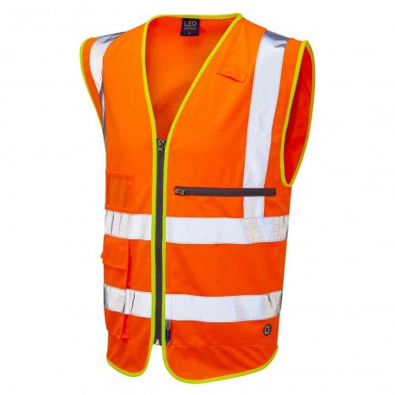 Leo Workwear Foreland Iso 20471 Cl 2 Superior Waistcoat With Tablet Pocket
