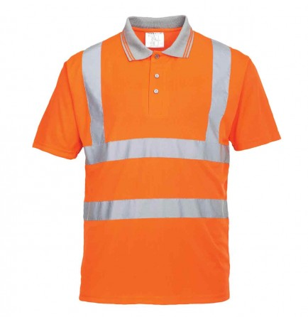 Portwest RT22 Hi-Vis Short Sleeved Polo Shirt GO/RT