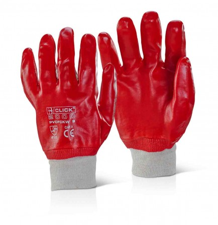 Click PVCKWT PVC Fully Coated Knit Wrist Red Glove