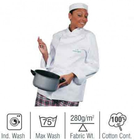 Cotton Chefs Jacket with Detachable Studs Long Sleeve