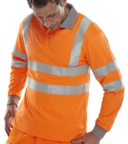 B-Seen Long Sleeve Hi Viz Polo Shirt