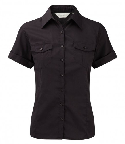 Russell Collection 919F Ladies Short Sleeve Twill Roll Shirt Black