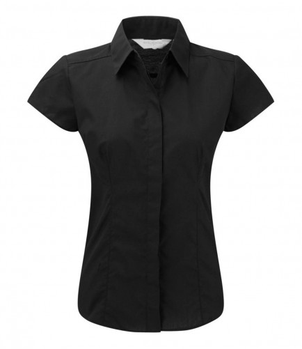 Russell Collection 925F Ladies Cap Sleeve  Poplin Shirt