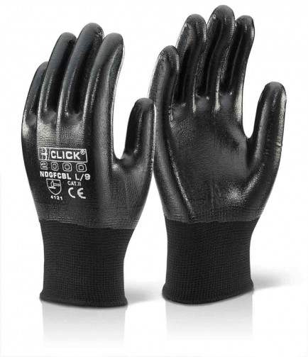 Click 2000 NDGFCBL Nitrile Fully Coated Polyester Glove Black