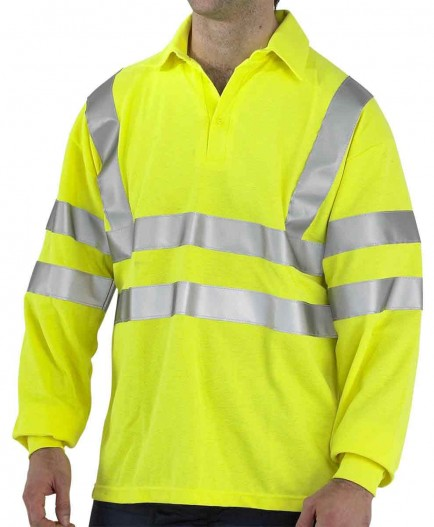 Click CFRHVPSLSAS Hi-Viz Flame Retardant Anti Static Long Sleeve Polo Shirt