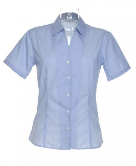 Kustom Kit Ladies Pinstripe Short Sleeve Shirt