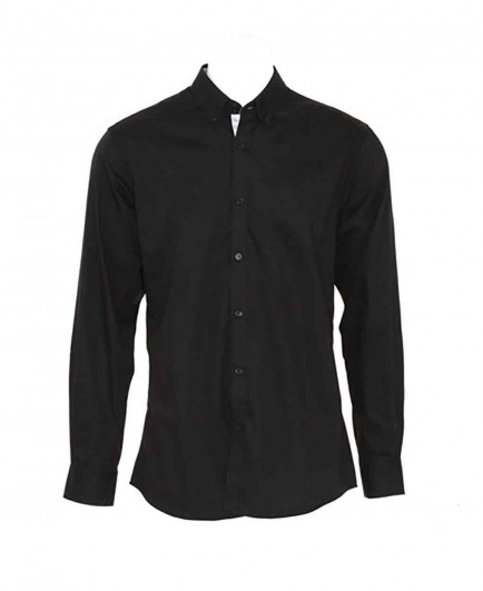 Kustom Kit Long Sleeve Contrast Premium Oxford Button Collar Shirt