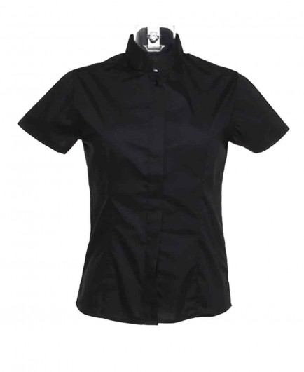 Kustom Kit Bargear® Ladies Short Sleeve Mandarin Collar Shirt