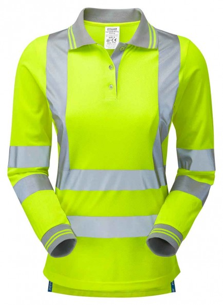PULSAR P702 Ladies Long Sleeve Hi-viz Polo Shirt