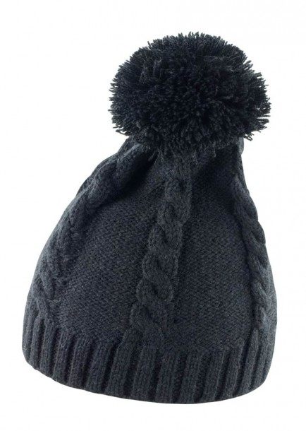 Result RC149 Cable Knit Pom Pom Beanie