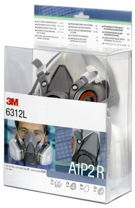 3M 6312L Half Mask + A1P2 Filter