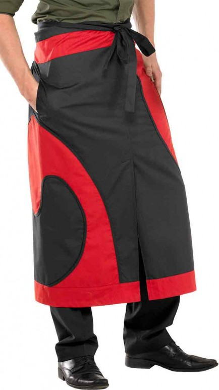 Catering Clobber CCLABLBU Long Split Apron Black / Burgundy