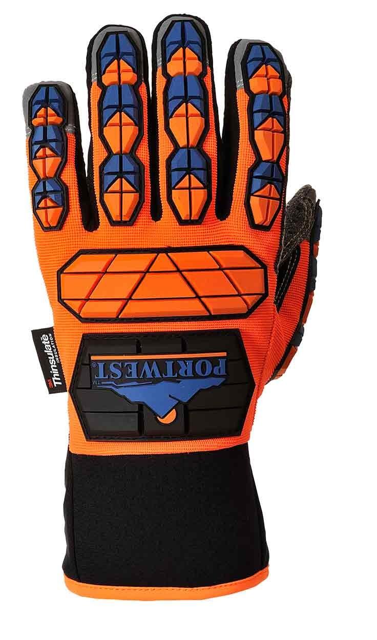 Portwest Unisex Aqua-Seal Pro Glove Orange//Blue Various Size A726