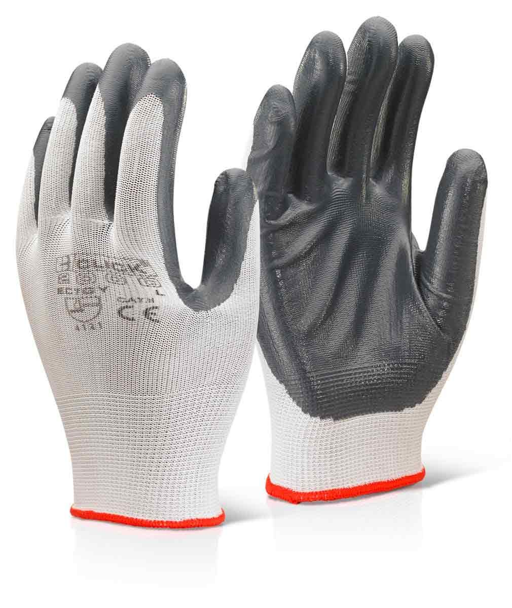 Leather work gloves screwfix - Click 2000 Ec7gy Nitrile Palm Coated Polyester Glove Grey