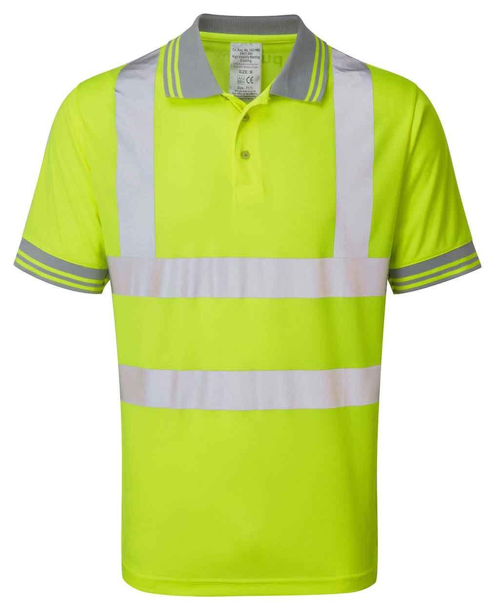 New Size XL PULSAR P175 Yellow Hi Vis 100/% Polyester Polo Shirt UV Protection
