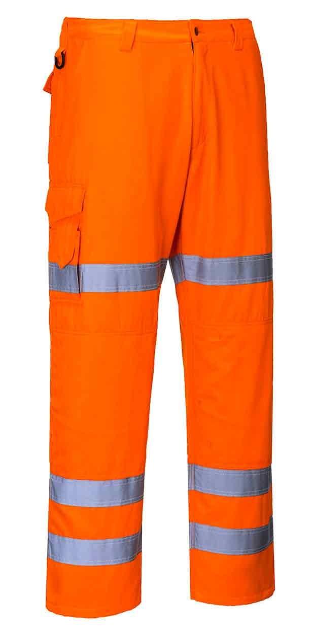 Portwest Hi Vis Three Band Combat Trousers Road Railway Work Wear RT49