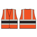 B-Seen HVVA2 Orange Wceng Vest With Contrast Band