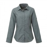 Premier PR317 Women's poplin cross-dye roll sleeve shirt