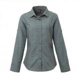 Premier PR317 Women's poplin cross-dye roll sleeve shirt
