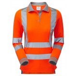 NEW PR703 PULSAR Ladies Rail Spec Long Sleeve Hi-viz Polo Shirt