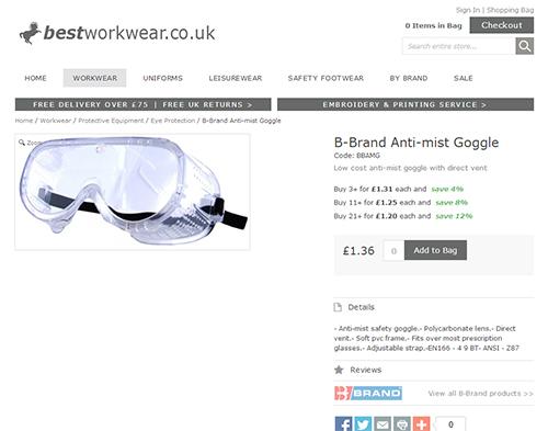B-Brand Anti Mist Goggle